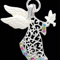 Christopher Radko Rhinestone Angel Brooch with Christmas White Dove