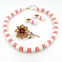 Vintage Hong Kong Necklace and Earring Set Retro Pink Rhinestone Flower Brooch