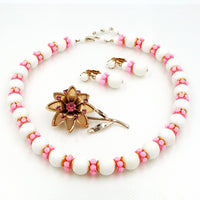Vintage Hong Kong Necklace and Earring Set with JJ Pink Flower Brooch