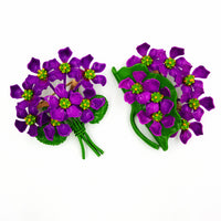 Vintage Violet Bouquet Mid Century Brooch Set Springtime Kitsch at bitchinretro.com
