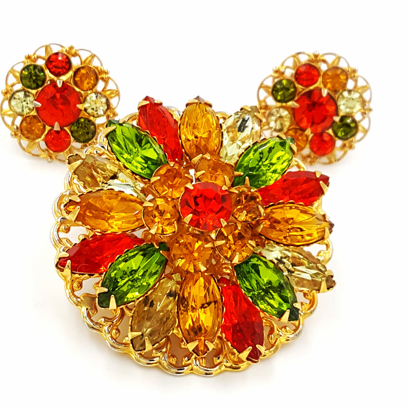 d44d96a518a Vintage Rhinestone Brooch and Earring Set Retro Yellow Orange and Green  Flower Pin