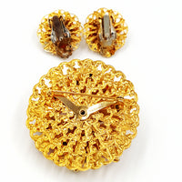 Vintage Rhinestone Brooch and Earring Set at bitchinretro.com