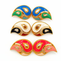 Vintage Avon Paisley Earrings Collection in Mix of Enameled Colors, Sixties Style