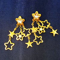 Swarovski Crystal Patriotic Star Dangle Earrings with Swan Symbol