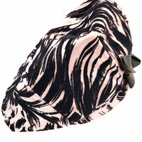 Vintage Mr John Classic Hat, Pink and Black Velvet Animal Print with Bow