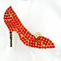 Red Rhinestone Stiletto Brooch With Shoe Ornament and Black High Heel