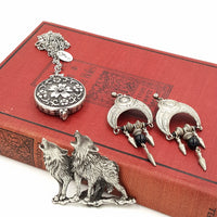 Gothic Jewelry Set with JJ Wolves Pewter Brooch, Zad Mirror Necklace, Earrings