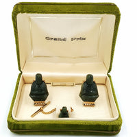 Grand Prix Vintage Jade Cufflink and Tie Pin Set at bitchinretro.com