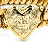 Lady Launton Vintage Expandable Heart Bracelet Inscribed 8/17/47 by Bigney Co