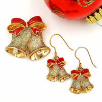 Avon Vintage Christmas Bells Brooch and Earring Set at bitchinretro.com