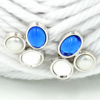 SAL Swarovski Crystal Vintage Cabochon Earrings in Blue and White
