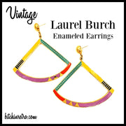 Vintage Laurel Burch Charisma Earrings With Enameled Geometric Design