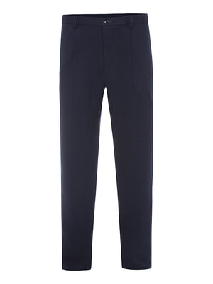 Navy Silk Crepe Trousers
