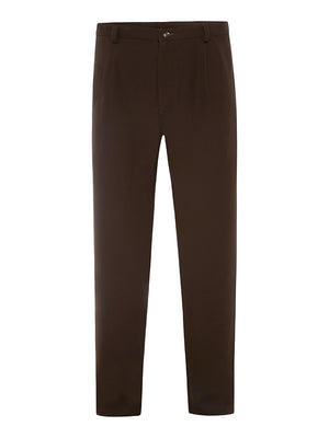 Chocolate Brown Silk Crepe Trousers