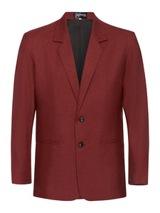 Ox Blood Non Crush Linen Suit