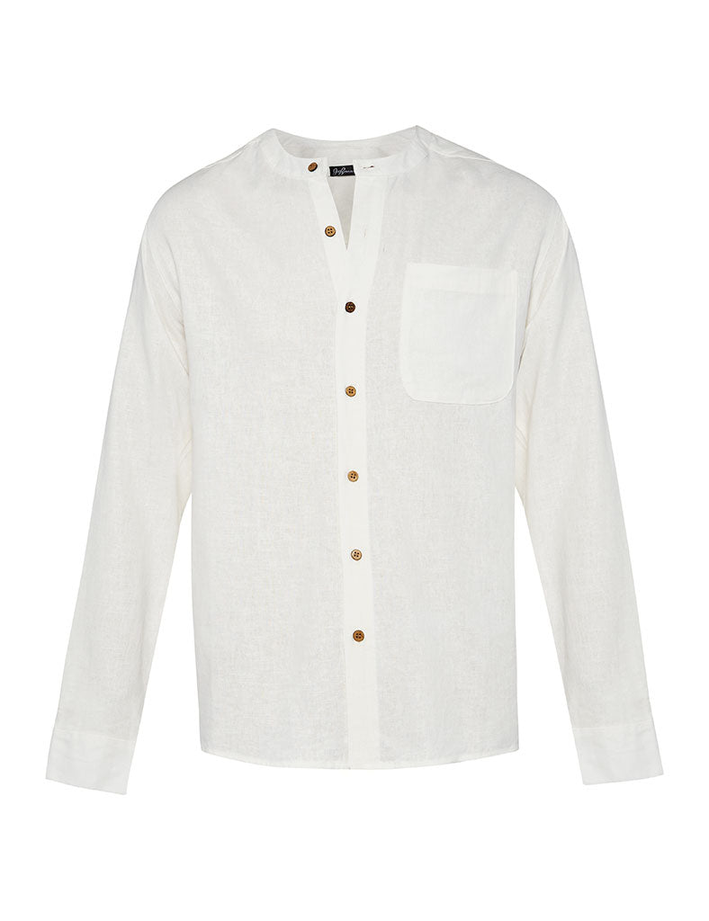 White Linen Grandfather Collar Linen Shirt