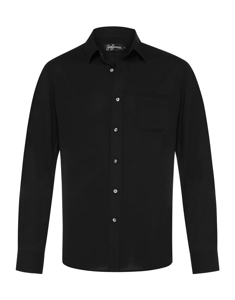 Black Silk Crepe L/S Shirt