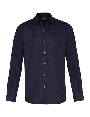 French Navy Linen L/S Shirt