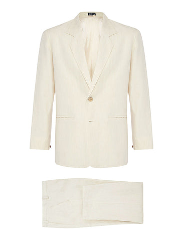 Ivory Twill Linen Suit
