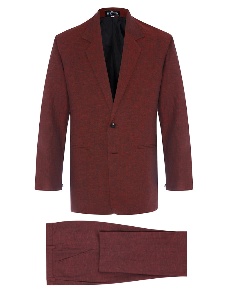 Ox Blood Linen Suit