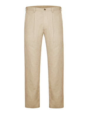 Oatmeal Non Crush Linen Trousers