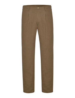 Coffee Non Crush Linen Trousers