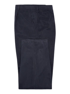 Navy Silk Twill Trousers