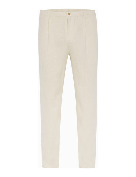 Cream Herringbone Linen Trousers