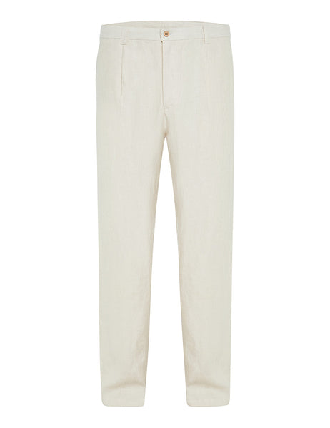 Ivory Twill Linen Trousers