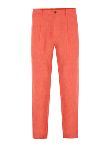 Coral Shot Linen Trousers