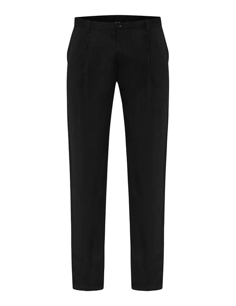 Black Silk Twill Trousers