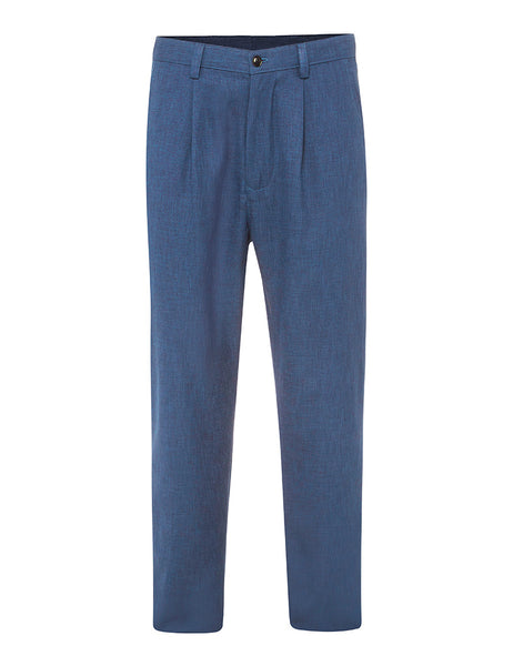 Blue Denim Non Crush Linen Trousers