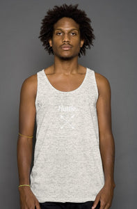 """ALPHA"" HUSTLE. PREMIUM TRIBLEND TANK (OATMEAL) - Hustle Culture 