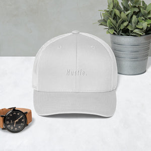 Hustle. Trucker Cap [ WHITE ON WHITE ]