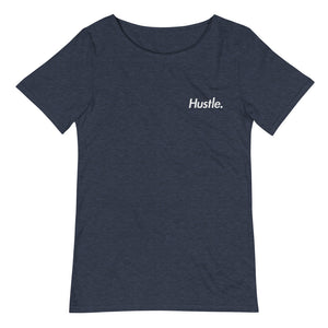 """RAW NECK"" HUSTLE. EMBROIDERED LOGO T-SHIRT - Hustle Culture 