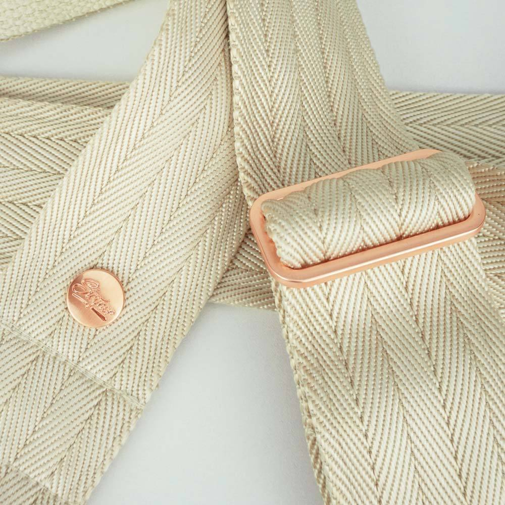 Nylon Guitar strap Creme rose gold