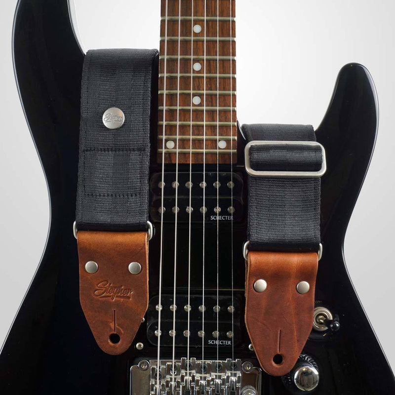 Seatbelt Gitarrengurt Cruiser Black Silver