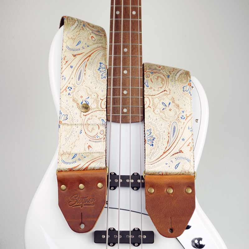 Paisley Bass Strap Beige - Indian Ginger Deluxe