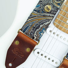 Load image into Gallery viewer, Paisley guitar strap black - Indian Nights