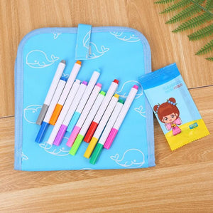Erasable Doodling Book (12 Colored Pens Included)