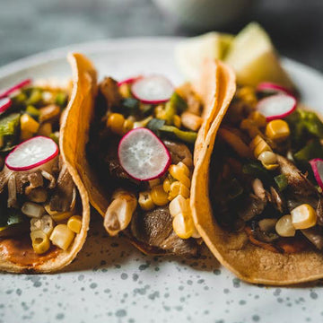Oyster Mushroom Tacos with Grilled Poblano Pepper + Corn Salsa