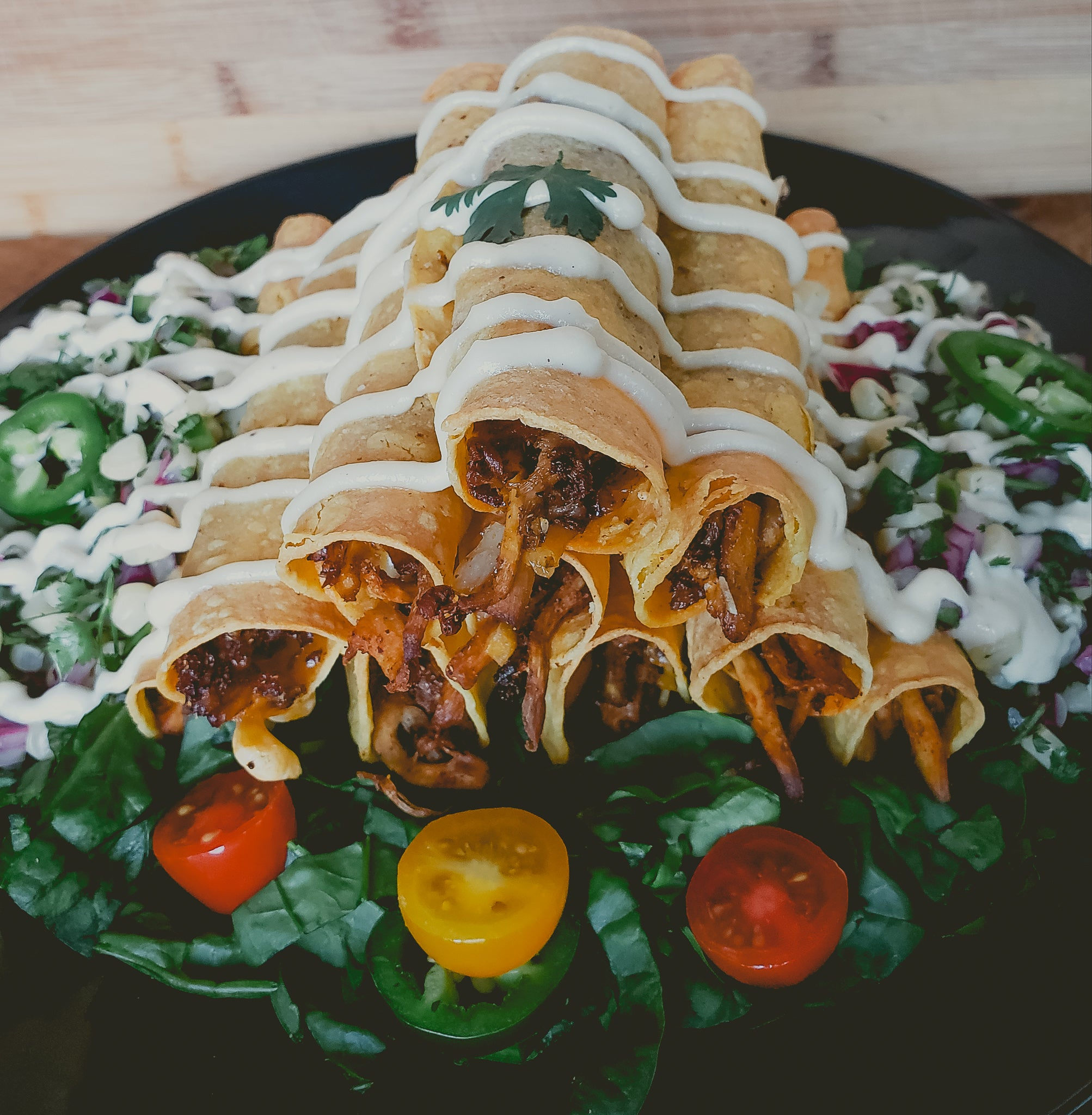 Oyster Mushroom Taquitos with Roasted Corn Salsa