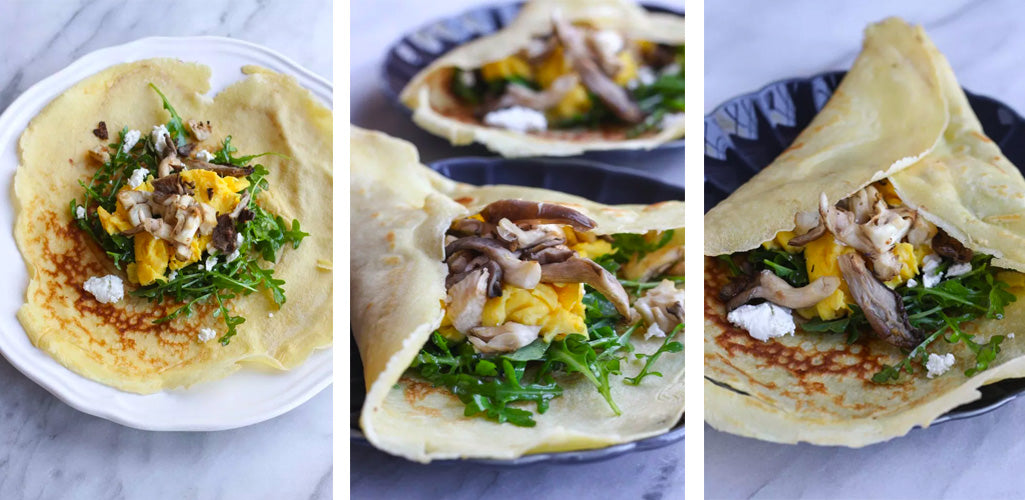 Savory Crepes with Oyster Mushrooms, Arugula, and Goat Cheese
