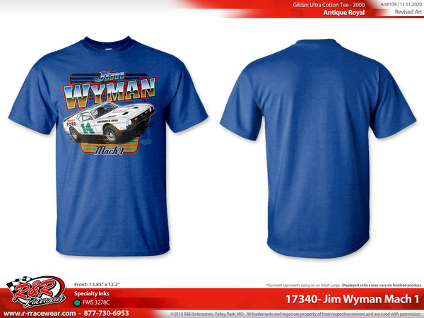 "Jim Wyman Retro 1971 ""Mach 1"" Antique Royal Blue T-shirt"