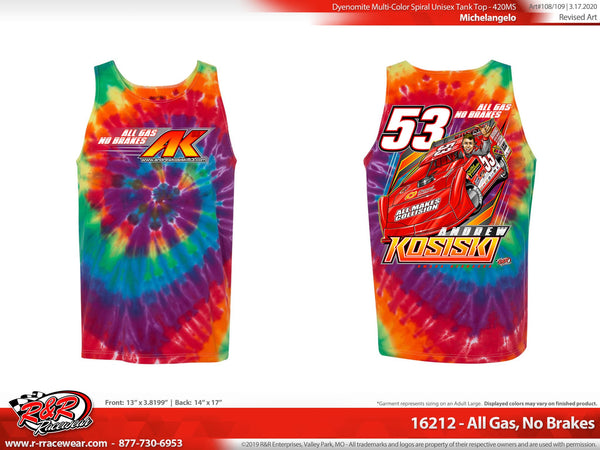 "Andrew Kosiski ""All Gas, No Brakes"" Tye-Dye Tank"