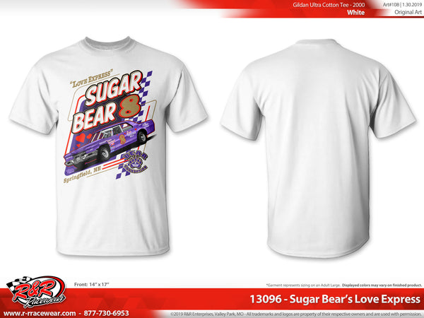 "Sugar Bear Retro 1971 Cadillac ""Love Express"" White T-shirt"