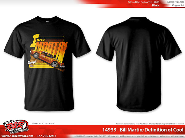 "Bill Martin Retro 1977 ""Definition of Cool"" Black T-shirt ***PREORDER PURCHASE**"