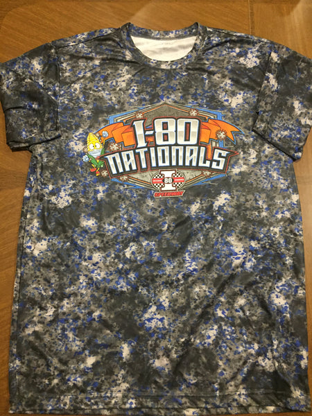 I-80 Nationals Blue-Grey Camo Performance Tee