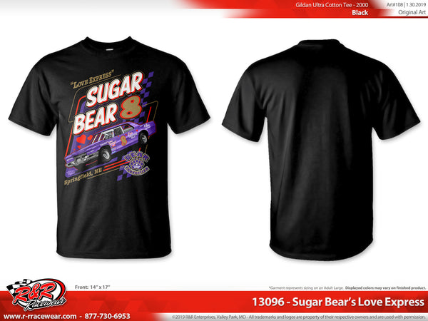 "Sugar Bear Retro 1971 Cadillac ""Love Express""  Black T-shirt"
