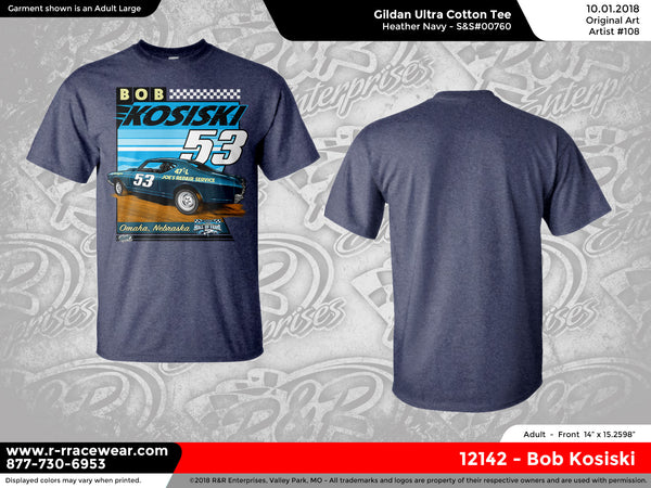 Bob Kosiski Retro 1969 Heather Navy T-Shirt *** PREORDER PURCHASE ***